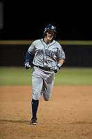 AZL Padres 1 left fielder Greg Lambert (14) rounds the bases after hitting a home run during an Arizona League game against the AZL Padres 2 at Peoria Sports Complex on July 14, 2018 in Peoria, Arizona. The AZL Padres 1 defeated the AZL Padres 2 4-0. (Zachary Lucy/Four Seam Images)