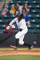 Eric Jenkins (5) of the Hickory Crawdads squares to bunt against the Rome Braves at L.P. Frans Stadium on May 12, 2016 in Hickory, North Carolina.  The Braves defeated the Crawdads 3-0.  (Brian Westerholt/Four Seam Images)