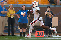 North Carolina State running back Jaylen Samuels scores on a 40-yard touchdown run. The North Carolina Wolfpack defeated the Pitt Panthers 35-17 at Heinz Field, Pittsburgh, PA on October 14, 2017.