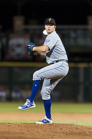Surprise Saguaros relief pitcher Grant Gavin (54), of the Kansas City Royals, delivers a pitch during an Arizona Fall League game against the Scottsdale Scorpions at Scottsdale Stadium on October 15, 2018 in Scottsdale, Arizona. Surprise defeated Scottsdale 2-0. (Zachary Lucy/Four Seam Images)