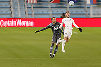 ST PAUL, MN - NOVEMBER 22: Chase Gasper #77 of Minnesota United FC and Keegan Rosenberry #2 of Colorado Rapids  battle for the ball during a game between Colorado Rapids and Minnesota United FC at Allianz Field on November 22, 2020 in St Paul, Minnesota.