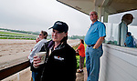 Barry Irwin, Team Valor CEO, and his wife Kathleen watch from the Clocker's Tower as Animal Kingdom, winner of the 137th Kentucky Derby, continues to train for the Preakness at the Fair Hill Training Center on May 16, 2011 in Fair Hill, Maryland.
