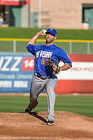 Las Vegas 51s starting pitcher Dillon Gee (53) warms up in the bullpen before the game against the Salt Lake Bees in Pacific Coast League action at Smith's Ballpark on June 25, 2015 in Salt Lake City, Utah. Las Vegas defeated Salt Lake 20-8.  (Stephen Smith/Four Seam Images)