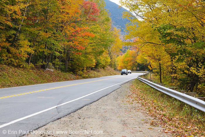 The Kancamagus Highway (route 112)  in Lincoln, New Hampshire during the autumn months. The Kancamagus Highway is one of New England's scenic byways.