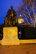 Franklin Pierce statue at the State Capitol Building in Concord, New Hampshire at night. Built on land donated by the Town of Concord, and constructed of local granite, the State Capital Building was built in 1816 -1819. Founded in 1623, New Hampshire was one of the 13 original colonies of the United States.