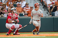 Texas Longhorns second baseman Brooks Marlow (8) follows through on his swing during the NCAA baseball game against the Houston Cougars on June 6, 2014 at UFCU Disch–Falk Field in Austin, Texas. The Longhorns defeated the Cougars 4-2 in Game 1 of the NCAA Super Regional. (Andrew Woolley/Four Seam Images)