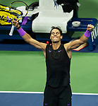 September 5,2019:  Rafael Nadal (ESP) defeated Matteo Berrettini (ITA) 7-6, 6-4, 6-1, at the US Open being played at Billie Jean King National Tennis Center in Flushing, Queens, NY.  ©Jo Becktold/CSM