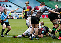 20th March 2021; Twickenham Stoop, London, England; English Premiership Rugby, Harlequins versus Gloucester; Harlequins, Gloucester; Alex Dombrandt of Harlequins goes over and scores his try