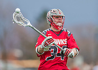 18 April 2015: University of Hartford Hawk Midfielder Brendan Gates, a Freshman from Ashland, MA, in action against the University of Vermont Catamounts at Virtue Field in Burlington, Vermont. The Cats defeated the Hawks 14-11 in the final home game of the 2015 season. Mandatory Credit: Ed Wolfstein Photo *** RAW (NEF) Image File Available ***