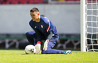 GUADALAJARA, MEXICO - MARCH 18: David Ochoa #20 of the United States warming up before a game between Costa Rica and USMNT U-23 at Estadio Jalisco on March 18, 2021 in Guadalajara, Mexico.