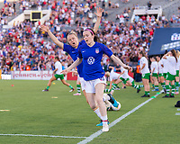 PASADENA, CA - AUGUST 4: Rose Lavelle #16 and Emily Sonnett #14 enter the field during a game between Ireland and USWNT at Rose Bowl on August 3, 2019 in Pasadena, California.