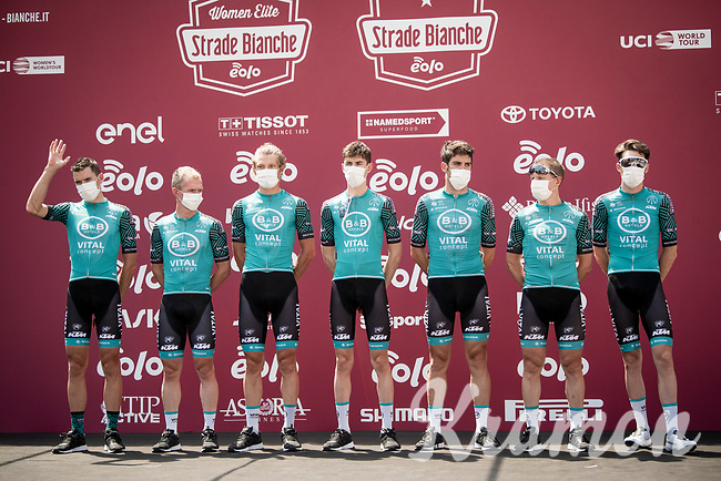 fulley face-masked Team B&B Hotels - Vital Concept p/b KTM at sign-on<br /> <br /> 14th Strade Bianche 2020<br /> Siena > Siena: 184km (ITALY)<br /> <br /> delayed 2020 (summer!) edition because of the Covid19 pandemic > 1st post-Covid19 World Tour race after all races worldwide were cancelled in march 2020 by the UCI