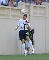 Jonathan Spector heads the ball. The USA defeated China, 4-1, in an international friendly at Spartan Stadium, San Jose, CA on June 2, 2007.