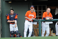 Virginia Cavaliers head coach Brian O'Connor #26 during a game against the Clemson Tigers at Doug Kingsmore Stadium on March 15, 2013 in Clemson, South Carolina. The Cavaliers won 6-5.(Tony Farlow/Four Seam Images).