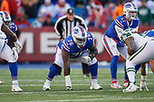 Buffalo Bills guard John Miller (76) and quarterback Josh Allen (17) during an NFL football game against the New York Jets, Sunday, December 9, 2018, in Orchard Park, N.Y.  (Mike Janes Photography)