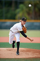 GCL Pirates starting pitcher Braxton Ashcraft (65) delivers a pitch during the first game of a doubleheader against the GCL Yankees East on July 31, 2018 at Pirate City Complex in Bradenton, Florida.  GCL Yankees East defeated GCL Pirates 2-0.  (Mike Janes/Four Seam Images)