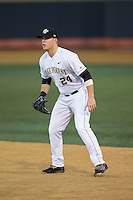 Wake Forest Demon Deacons first baseman Gavin Sheets (24) on defense against the Georgetown Hoyas at David F. Couch Ballpark on February 19, 2016 in Winston-Salem, North Carolina.  The Demon Deacons defeated the Hoyas 3-1.  (Brian Westerholt/Four Seam Images)