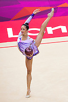 11 AUG 2012 - LONDON, GBR - Neta Rivkin (ISR) of Israel performs her ball routine during the 2012 London Olympic Games Individual All-Around Rhythmic Gymnastics final at Wembley Arena in London, Great Britain (PHOTO (C) 2012 NIGEL FARROW)