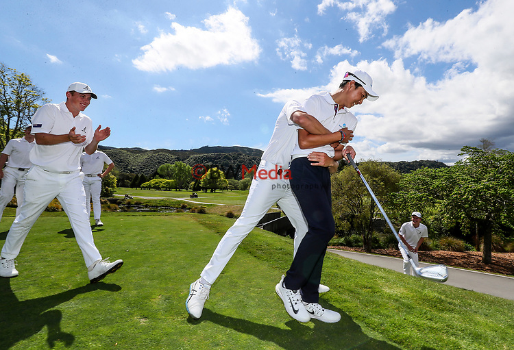 Min Woo Lee gets caught in the slips by Team NZ during the Asia Pacific Amateur Golf Championship Round Three, Royal Wellington Golf Course, Wellington, New Zealand, 28 October2017.  Photo: Simon Watts/www.bwmedia.co.nz