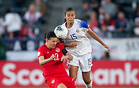 CARSON, CA - FEBRUARY 07: Christine Sinclair #12 of Canada and  Stephannie Blanco #15 of Costa Rica fight for a ball during a game between Canada and Costa Rica at Dignity Health Sports Complex on February 07, 2020 in Carson, California.