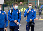 St Johnstone v Rangers…11.09.21  McDiarmid Park    SPFL<br />Hayden Muller arrives ahead of today's game against Rangers<br />Picture by Graeme Hart.<br />Copyright Perthshire Picture Agency<br />Tel: 01738 623350  Mobile: 07990 594431