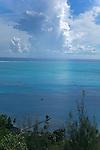 Hilltop view of a pier on Bora Bora.