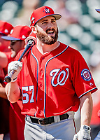 25 February 2019: Washington Nationals outfielder Hunter Jones awaits his turn in the batting cage prior to a pre-season Spring Training game against the Atlanta Braves at Champion Stadium in the ESPN Wide World of Sports Complex in Kissimmee, Florida. The Braves defeated the Nationals 9-4 in Grapefruit League play in what will be the Braves' last season at the Disney / ESPN Wide World of Sports complex. Mandatory Credit: Ed Wolfstein Photo *** RAW (NEF) Image File Available ***
