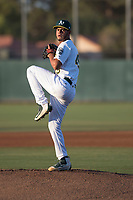 AZL Athletics starting pitcher Angello Infante (49) delivers a pitch during an Arizona League game against the AZL Giants Orange at Lew Wolff Training Complex on June 25, 2018 in Mesa, Arizona. AZL Giants Orange defeated the AZL Athletics 7-5. (Zachary Lucy/Four Seam Images)