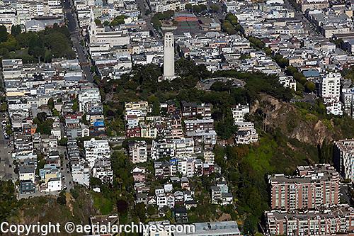 aerial photograph Coit Tower Telegraph Hill San Francisco, California