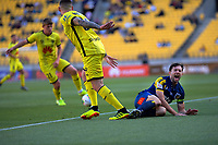 Phoenix's Gary Hooper tackles Central Coast Mariners' Tommy Oar during the A-League football match between Wellington Phoenix and Central Coast Mariners at Westpac Stadium in Wellington, New Zealand on Saturday, 4 January 2020. Photo: Dave Lintott / lintottphoto.co.nz