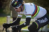 World Champion Peter Sagan (SVK/Tinkoff-Saxo) rocking his rainbow kit<br /> <br /> Kuurne-Brussel-Kuurne 2016