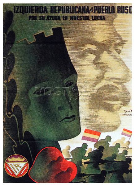 EX71BX Russia and Its Help in Our Fight! A republican poster from the Spanish Civil War, showing an image of Stalin
