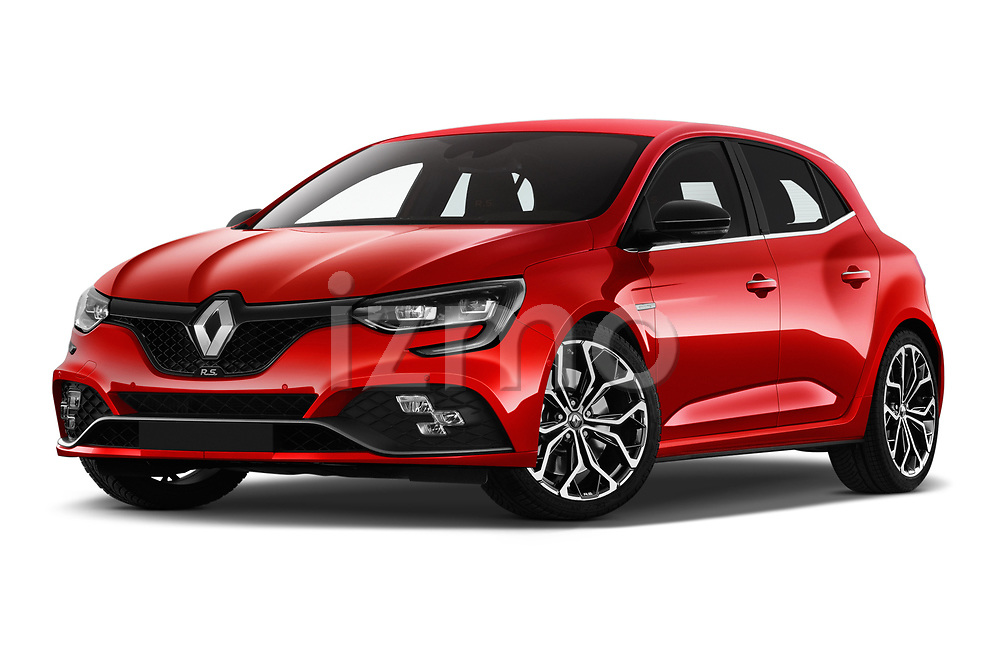 Stock pictures of low aggressive front three quarter view of a 2018 Renault Megane R.S. base 5 Door Hatchback