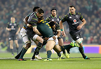 Saturday 11th November 2017; Ireland vs South Africa<br /> Coenie Oosthuizen is tackled by Johnny Sexton and Bundee Aki during the Guinness Autumn Series between Ireland and South Africa at the Aviva Stadium, Lansdowne Road, Dublin, Ireland.  Photo by DICKSONDIGITAL