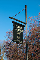 Black wooden sign of the Boston Public Garden