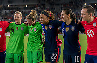 ORLANDO, FL - MARCH 05: Jess McDonald #22 of the United States stands in the huddle during a game between England and USWNT at Exploria Stadium on March 05, 2020 in Orlando, Florida.