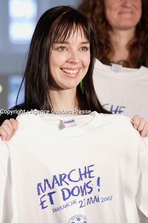 Montreal (QC) CANADA, April 3 , 2007<br /> <br />   Madame Viviane Audet au <br /> lancement du premier projet de sensibilisation d'envergure provinciale<br />     la Marche de la memoire RONA