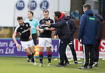 Dundee v St Johnstone….31.12.16     Dens Park    SPFL<br />Kostadin Gadzhalov celebrates his goal with manager Paul Hartley<br />Picture by Graeme Hart.<br />Copyright Perthshire Picture Agency<br />Tel: 01738 623350  Mobile: 07990 594431