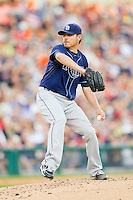 Tampa Bay Rays starting pitcher Matt Moore (55) in action against the Detroit Tigers at Comerica Park on June 4, 2013 in Detroit, Michigan.  The Tigers defeated the Rays 10-1.  Brian Westerholt/Four Seam Images