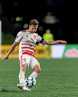 FOXBOROUGH, MA - AUGUST 21: Ian Antley #2 of Richmond Kickers crosses the ball during a game between Richmond Kickers and New England Revolution II at Gillette Stadium on August 21, 2020 in Foxborough, Massachusetts.