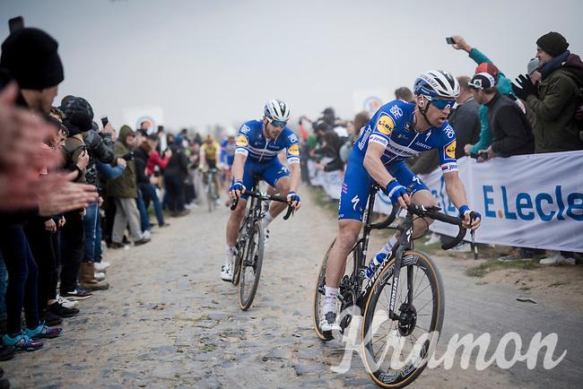 Zdenek Stybar (CZE/Deceuninck-Quick Step) & Florian SÉNÉCHAL (FRA/Deceuninck-Quick Step) over the infamous Carrefour de l' Arbre cobbles<br /> <br /> 117th Paris-Roubaix 2019 (1.UWT)<br /> One day race from Compiègne to Roubaix (FRA/257km)<br /> <br /> ©kramon