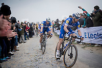 Zdenek Stybar (CZE/Deceuninck-Quick Step) & Florian SÉNÉCHAL (FRA/Deceuninck-Quick Step) over the infamous Carrefour de l' Arbre cobbles<br /> <br /> 117th Paris-Roubaix 2019 (1.UWT)<br /> One day race from Compiègne to Roubaix (FRA/257km)<br /> <br /> ©kramon