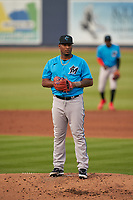 Miami Marlins pitcher Sixto Sánchez (45) during a Major League Spring Training game against the Washington Nationals on March 20, 2021 at FITTEAM Ballpark of the Palm Beaches in Palm Beach, Florida.  (Mike Janes/Four Seam Images)