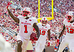 North Carolina State's Jaylen Samuels celebrates scoring a touchdown in the second half of an NCAA college football game against Florida State in Tallahassee, Fla., Saturday, Sept. 23, 2017.  NC State defeated Florida State 27-21. (AP Photo/Mark Wallheiser)