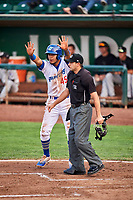 Gersel Pitre (45) of the Ogden Raptors during the game against the Grand Junction Rockies at Lindquist Field on September 6, 2017 in Ogden, Utah. Home plate umpire Thomas Fornarola watches the action. Ogden defeated Grand Junction 11-7. (Stephen Smith/Four Seam Images)