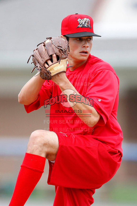July 3, 2009:  Pitcher Joe Kelly of the Batavia Muckdogs throws a simulated game at Dwyer Stadium in Batavia, NY.  The Muckdogs are the NY-Penn League Short-Season Class-A affiliate of the St. Louis Cardinals.  Photo by:  Mike Janes/Four Seam Images
