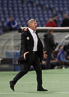 Calcio, Europa League: Lazio vs Sparta Praga. Roma, stadio Olimpico, 17 marzo 2016.<br /> Sparta Praha's coach Zdenek Scasny shouts to his players during the round of 16 second leg soccer match between Lazio and Sparta Praha, at Rome's Olympic Stadium, 17 March 2016. Sparta Praha won 3-0 to join the quarter finals.<br /> UPDATE IMAGES PRESS/Isabella Bonotto