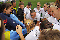 Abby Wambach leads the US huddle before a 2-1 defeat of Norway at the 2010 Algarve Cup match in Olhao, Portugal.