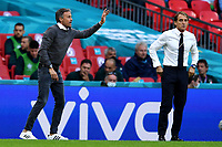 6th July 2021; Wembley Stadium, London, England; Euro 2020 Football Championships semi-final, Italy versus Spain;  Spain manager Luis Enrique alongside Italy manager Roberto Mancini