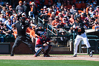 Gonzaga Bulldogs catcher Austin Pinorini (23) catches a called strike three behind Preston Jones (33) during a game against the Oregon State Beavers on February 16, 2019 at Surprise Stadium in Surprise, Arizona. Oregon State defeated Gonzaga 9-3. (Zachary Lucy/Four Seam Images)